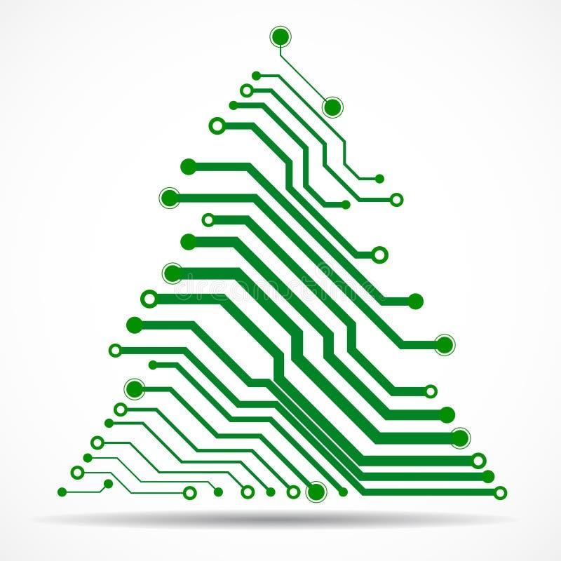 Arbre de Noël coloré de technologie de résumé illustration libre de droits