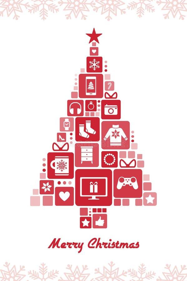 Arbre de Noël composé de cadeaux illustration stock