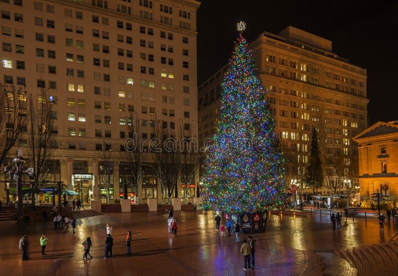 Arbre de Noël - décembre, 14 2014 L'arbre de Noël principal dans le capitol de l'état de Washington images libres de droits