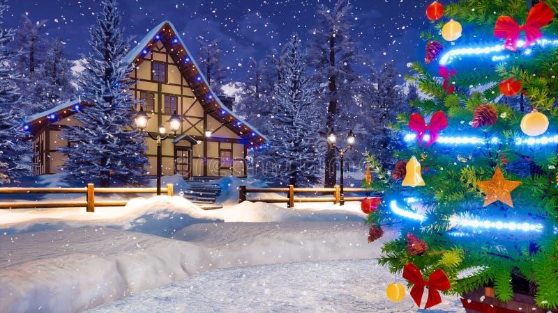 Arbre de Noël décoré à la fin de nuit d'hiver  photos stock