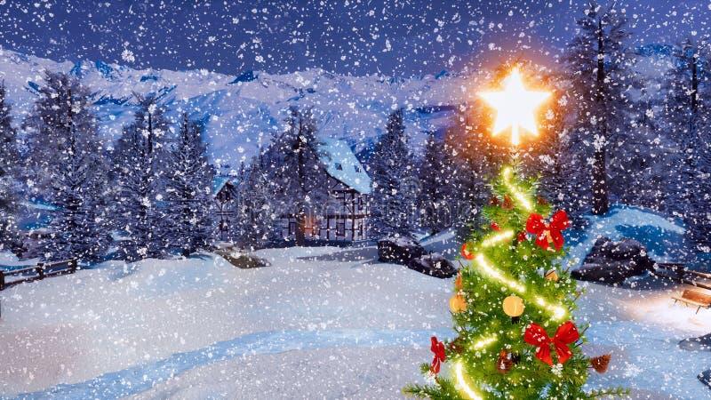Arbre de Noël décoré au plan rapproché de nuit d'hiver photographie stock