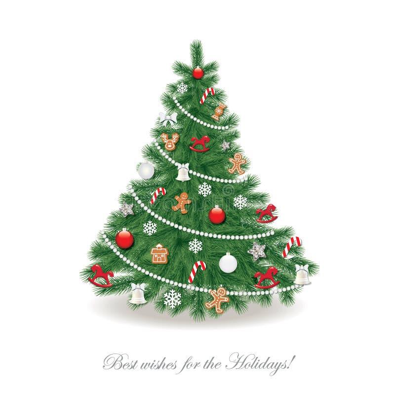 Arbre de Noël décoré avec différents jouets et biscuits de pain d'épice réaliste illustration de vecteur