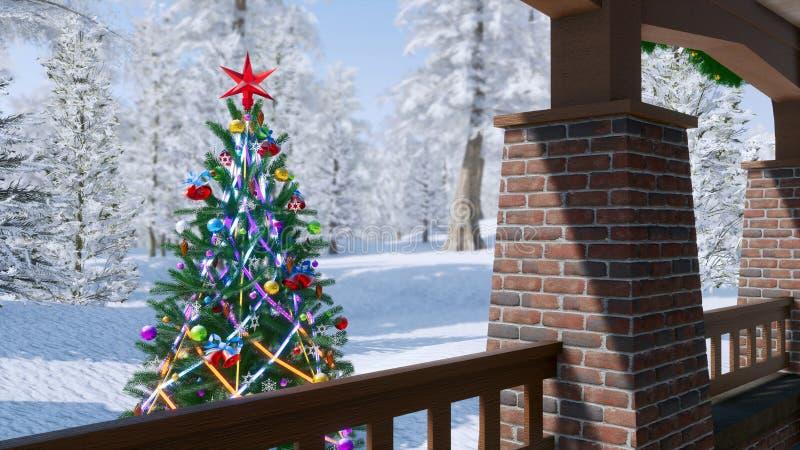 Arbre de Noël décoré extérieur à la journée illustration stock