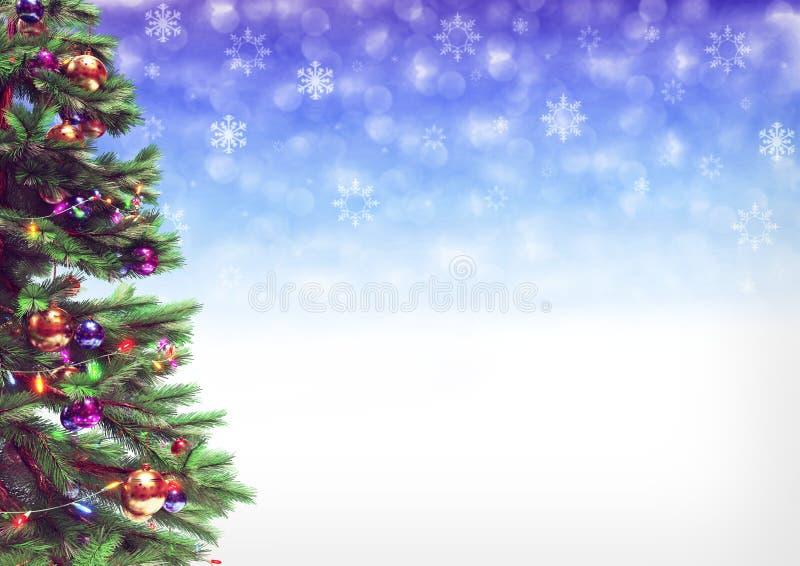 Arbre de Noël décoré sur le fond de bokeh illustration 3D image stock