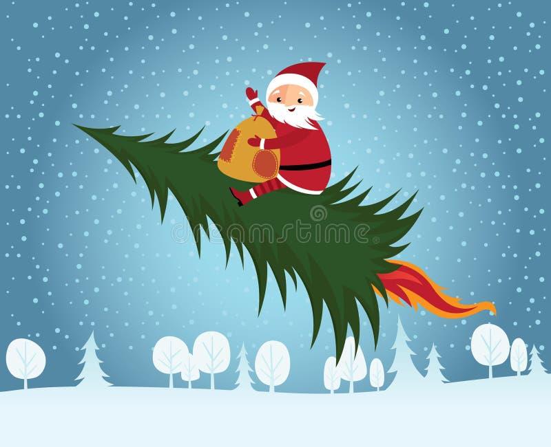 Arbre de Noël d'équitation du père noël illustration stock