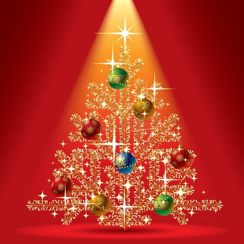 Arbre de Noël d'or illustration de vecteur