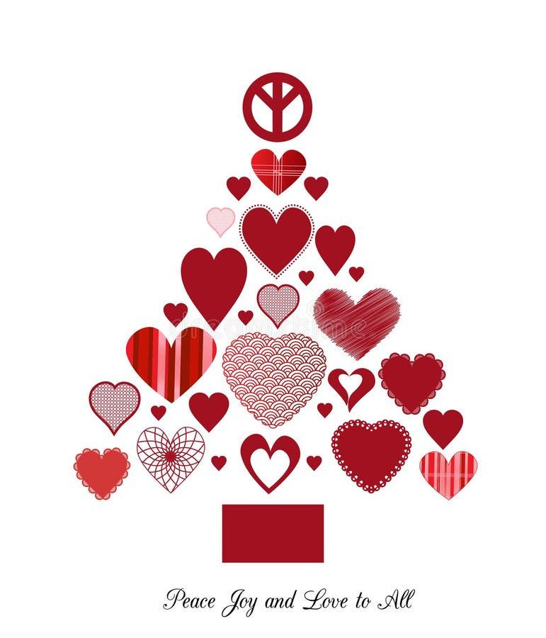 Arbre de Noël d'amour et de paix illustration stock