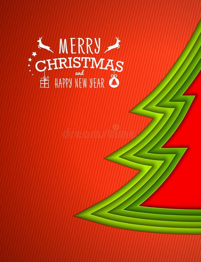 Arbre de Noël d'Applique, fond rouge Carte de voeux illustration stock