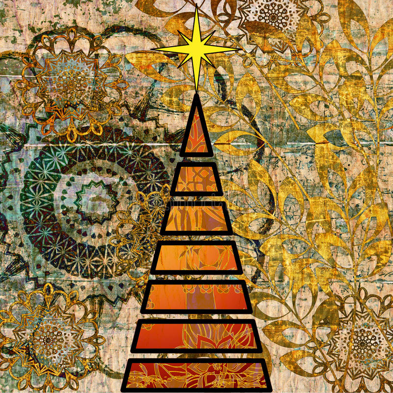 Arbre de Noël d'art illustration stock