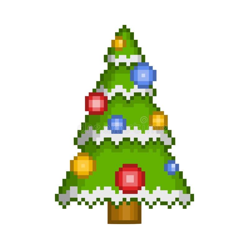 Arbre de Noël d'art de pixel de vecteur avec des ornements illustration stock
