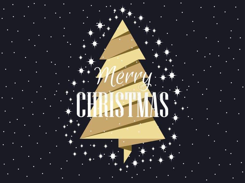 Arbre de Noël d'or avec des étoiles Joyeux Noël Vecteur illustration de vecteur