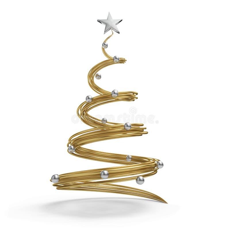 Arbre de Noël d'or avec des boules de chrome illustration libre de droits