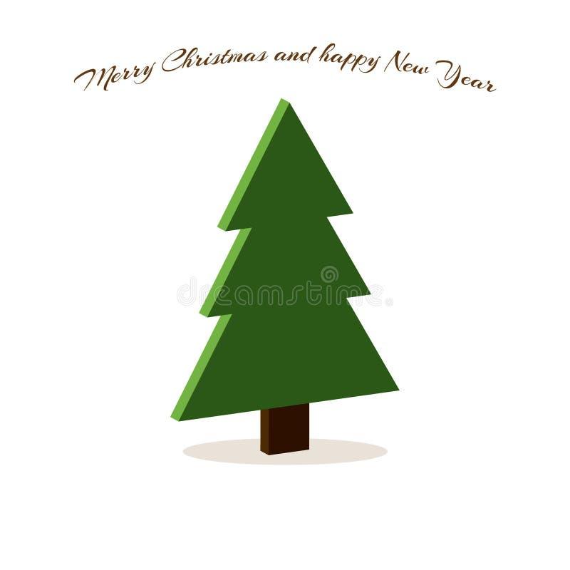 Arbre de Noël 3d, carte simple minimalistic de Joyeux Noël de vecteur souhaitant la bonne année également illustration libre de droits