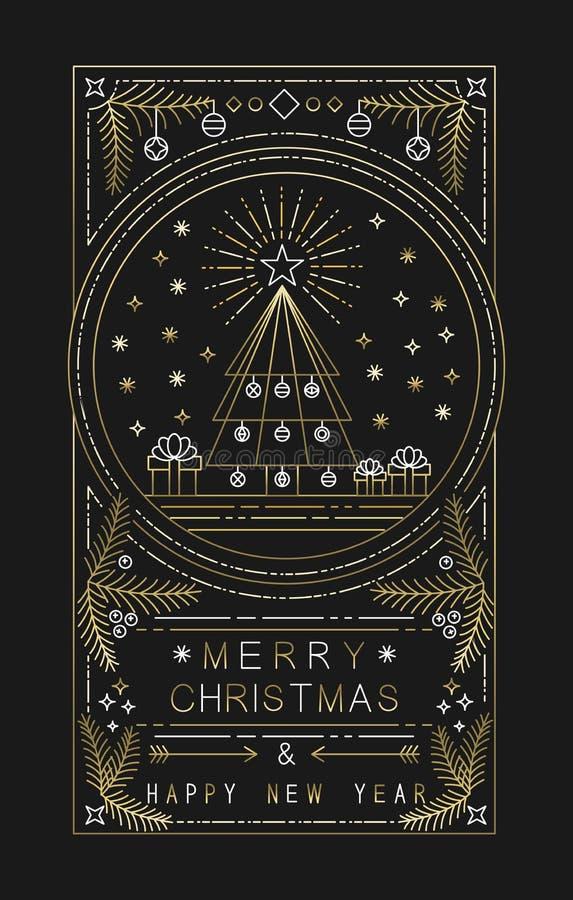 Arbre de Noël d'ensemble d'or de nouvelle année de Joyeux Noël illustration libre de droits