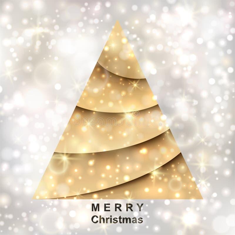 Arbre de Noël d'or sur le fond argenté illustration stock