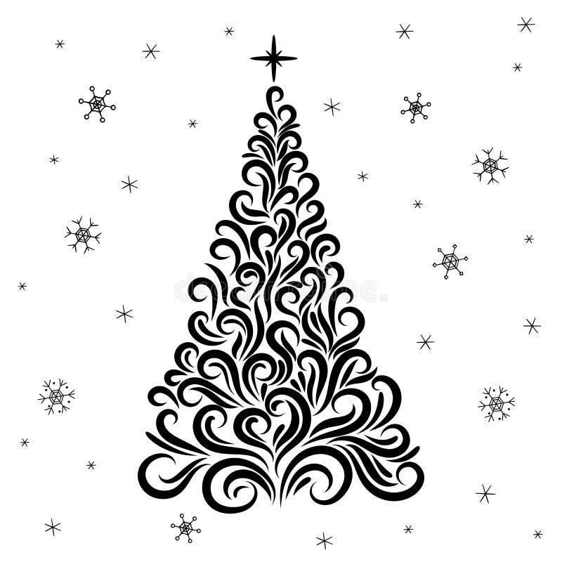 Arbre de Noël d'un ornement Invitation d'an neuf f?licitation c?l?bration L'hiver Flocons de neige ?toile tatouage circuit Silhou illustration stock