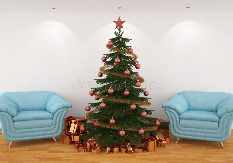 Arbre de Noël dans l'intérieur avec les présidences bleues illustration libre de droits