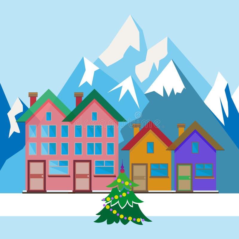 Arbre de Noël dans la cour illustration libre de droits