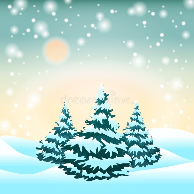 Arbre de Noël dans la neige Hiver dans la tempête de neige de forêt Chr illustration stock