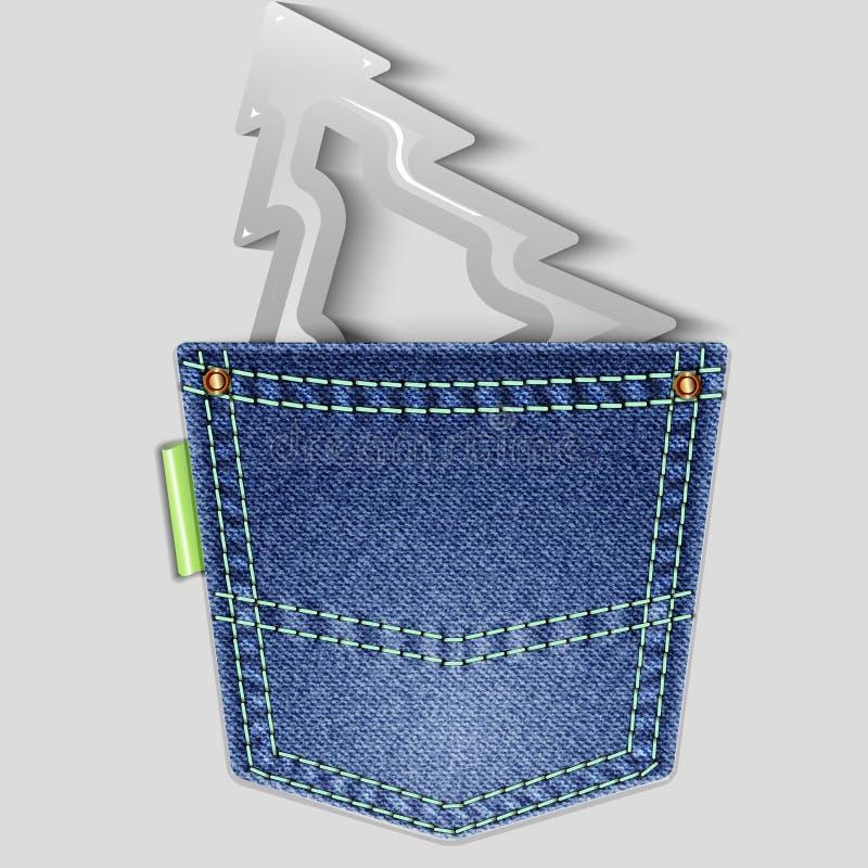 Arbre de Noël dans la poche arrière de denim illustration de vecteur