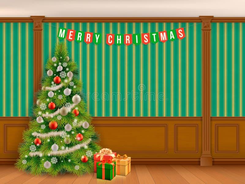 Arbre de Noël dans le coffret avec les panneaux en bois illustration de vecteur