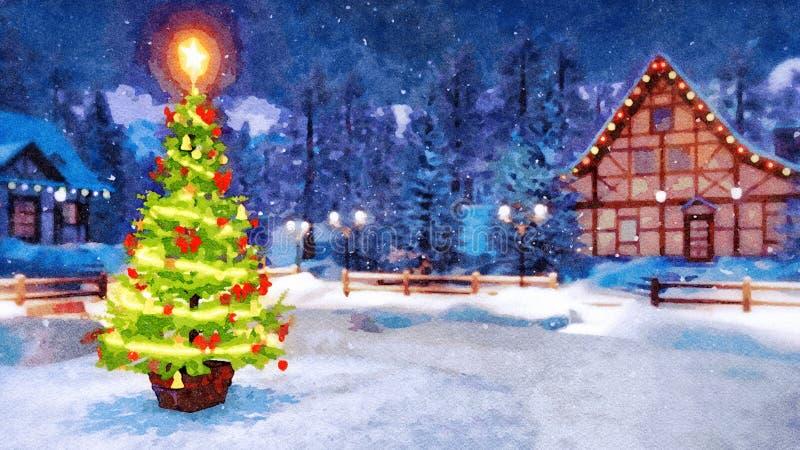 Arbre de Noël dans le paysage rural à l'aquarelle de nuit photographie stock