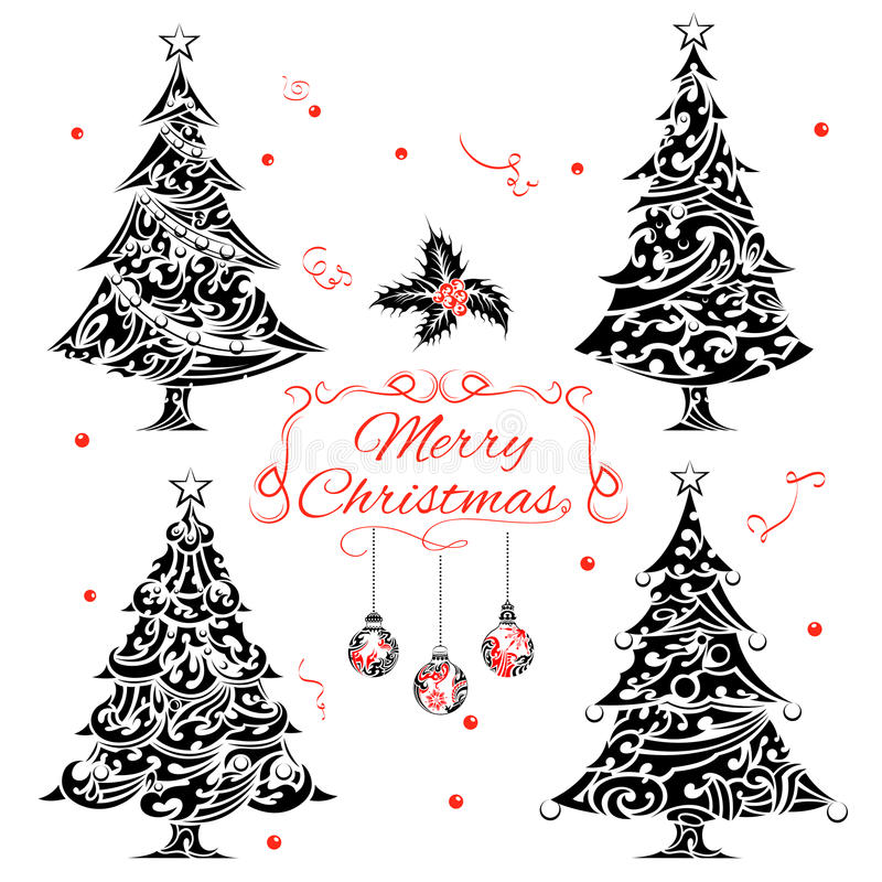 Arbre de Noël dans le style de tatouage illustration stock