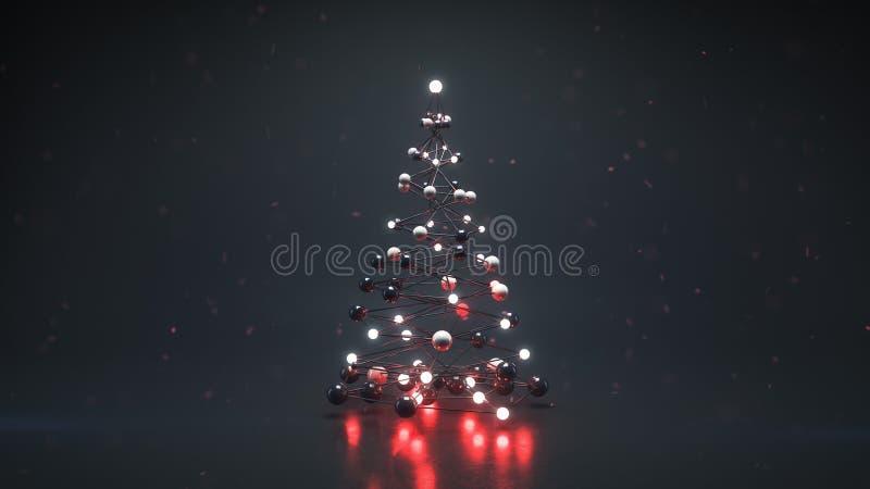 Arbre de Noël dans le style futuriste 3D de technologie rendre illustration stock