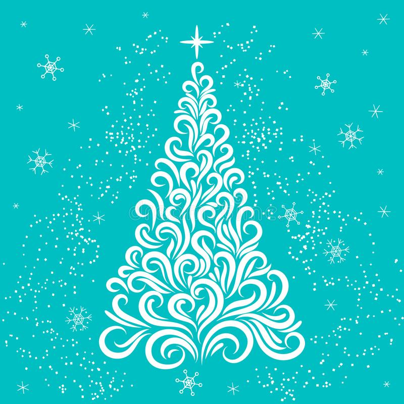 Arbre de Noël dans les couleurs blanches et bleues Invitation d'an neuf f?licitation c?l?bration L'hiver Flocons de neige ?toiles illustration de vecteur