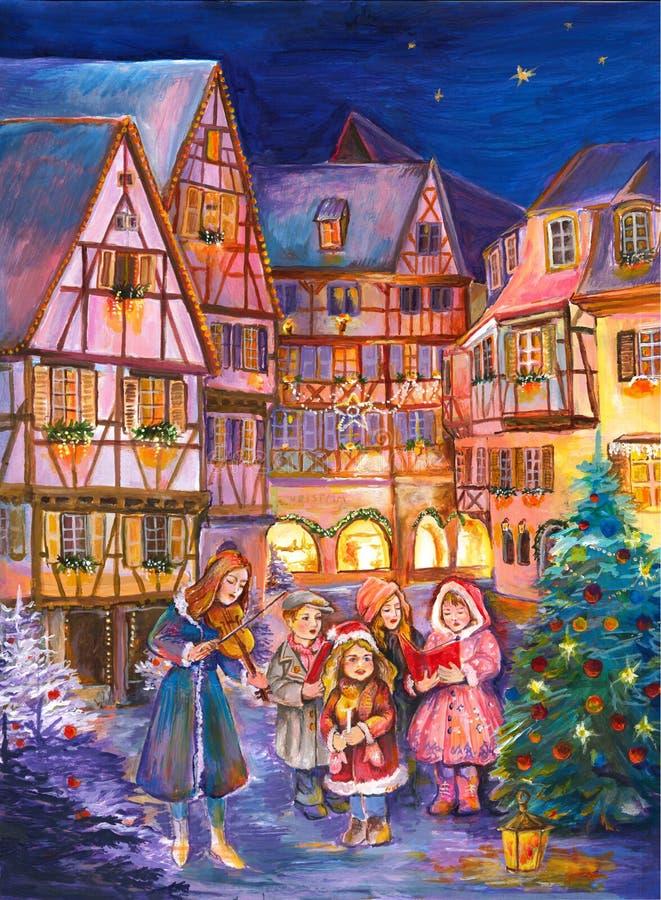 Arbre de Noël de calendrier d'avènement L'hiver photo stock