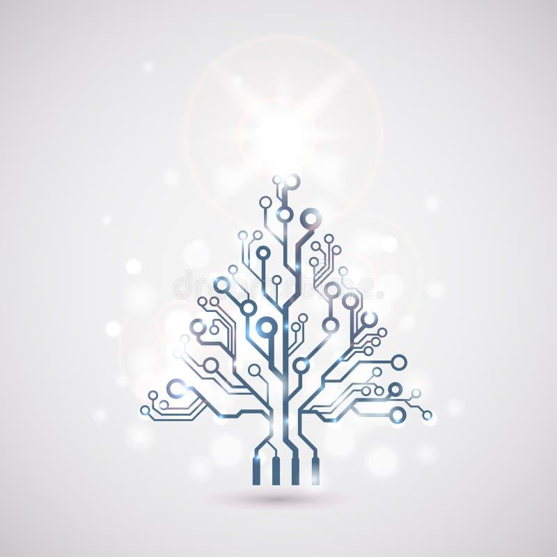 Arbre de Noël de carte de vecteur illustration stock