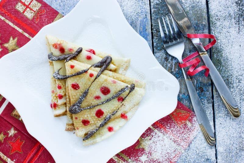 Arbre de Noël de crêpe d'idées de dîner de Noël photo libre de droits