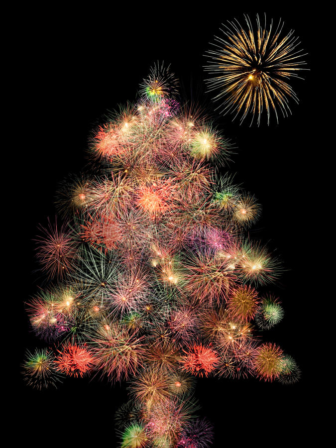 Arbre de Noël de feux d'artifice images libres de droits
