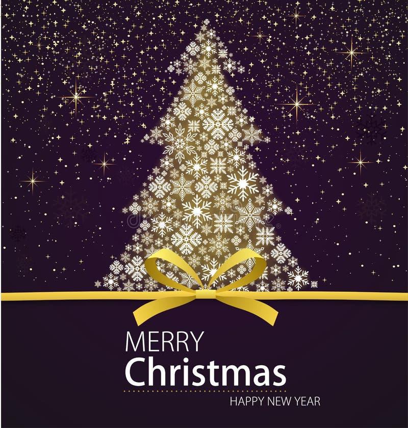 Arbre de Noël de Joyeux Noël et de bonne année illustration libre de droits