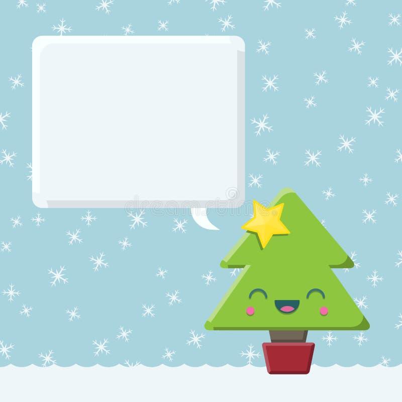Arbre de Noël de Kawaii avec la bulle de la parole illustration libre de droits