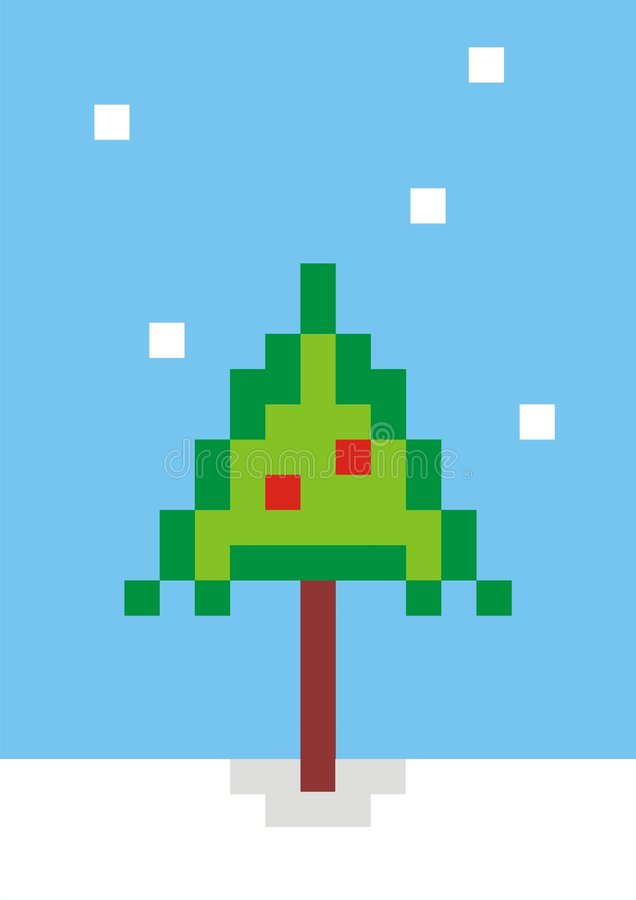 Arbre de Noël de Pixel illustration stock