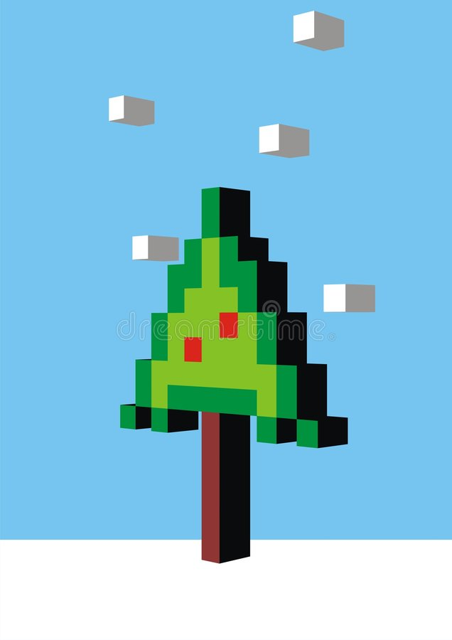 Arbre de Noël de Pixel illustration libre de droits