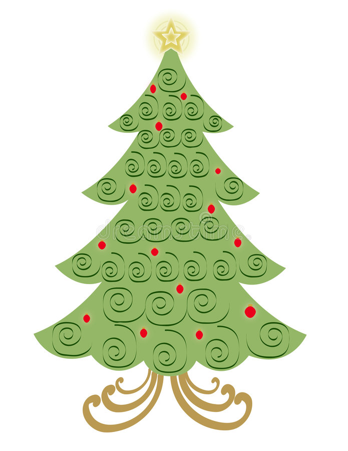 Arbre de Noël de remous de vecteur illustration stock