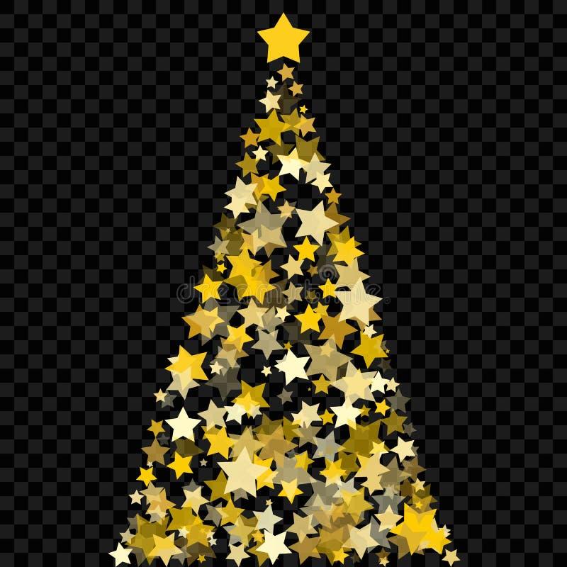 Arbre de Noël des étoiles sur le fond transparent Arbre de Noël d'or comme symbole de bonne année, ce de vacances de Joyeux Noël illustration de vecteur