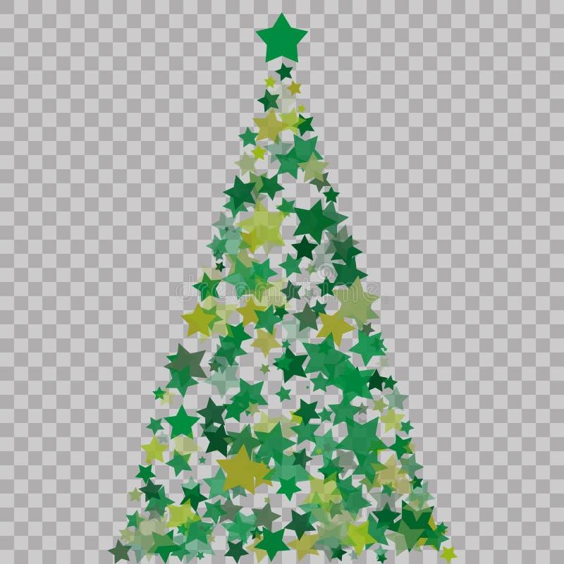 Arbre de Noël des étoiles sur le fond transparent Arbre de Noël vert comme symbole de bonne année, vacances c de Joyeux Noël illustration de vecteur