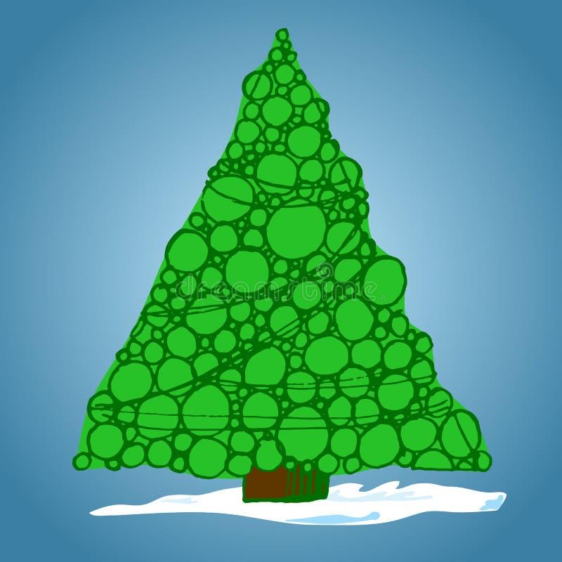 Arbre de Noël des boules, tiré par la main, illustration de vecteur photos stock