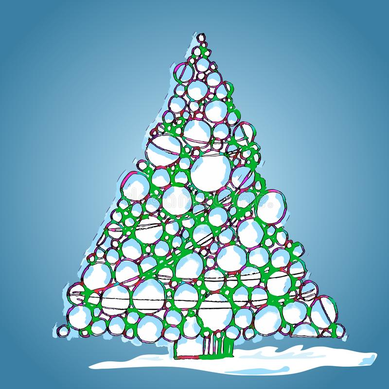 Arbre de Noël des boules, tiré par la main, illustration de vecteur images stock