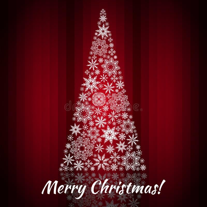 Arbre de Noël des flocons de neige Fond - rideau rouge illustration de vecteur