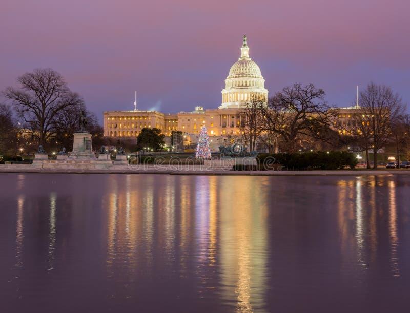 Arbre de Noël devant le Washington DC de capitol image libre de droits