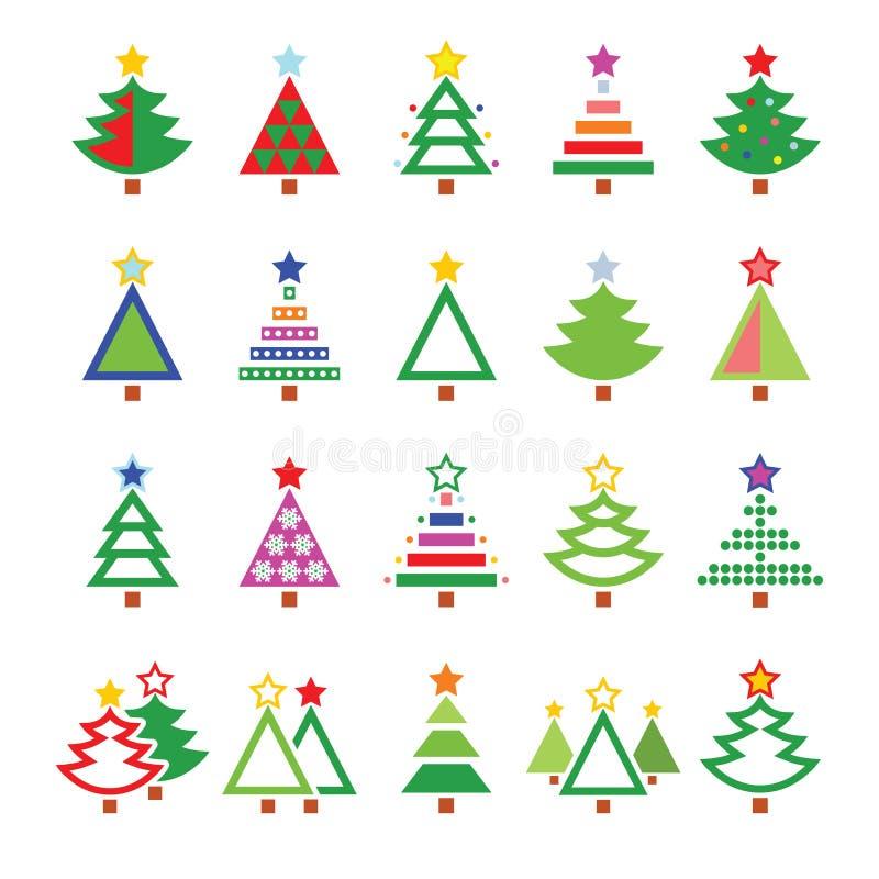 Arbre de Noël - divers types icônes réglées illustration libre de droits