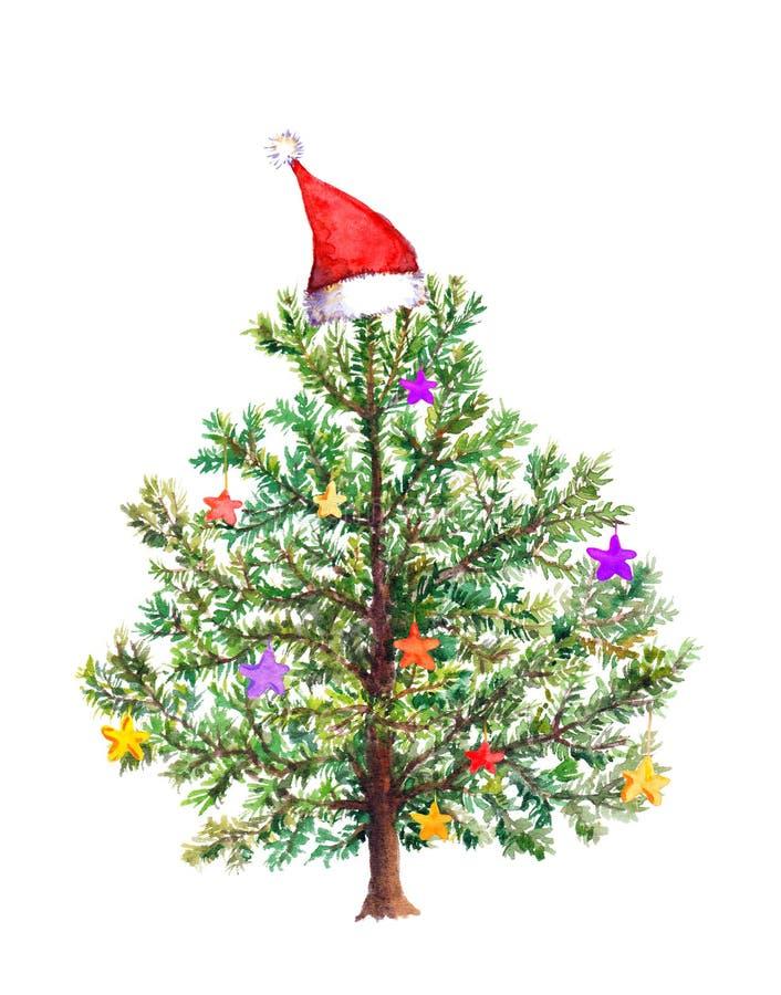 Arbre de Noël drôle avec les babioles décoratives dans le chapeau rouge du ` s de Santa watercolor illustration stock