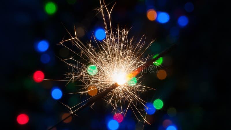 Arbre de Noël du feu du Bengale photo stock