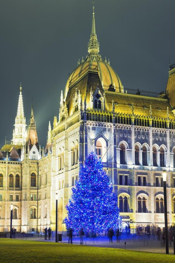 Arbre de Noël en Front Off Parliament Building photos stock