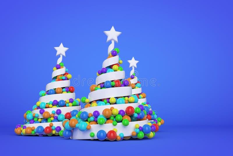 Arbre de Noël en spirale de fête de résumé fait en ruban blanc avec des boules de Noël d'arc-en-ciel 3D rendent l'illustration su illustration libre de droits