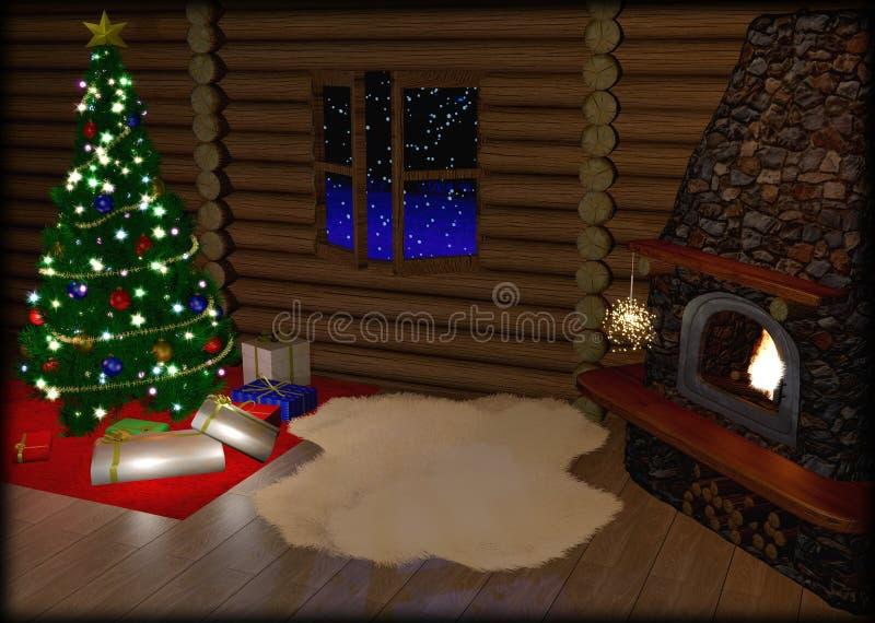 Arbre de Noël et boîte-cadeau de Noël dedans illustration libre de droits